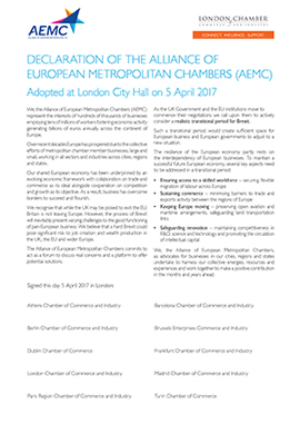 Declaration of the Alliance of European Metropolitan Chambers