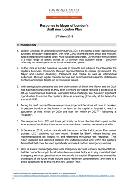 Response to the Mayor of London's draft new London Plan