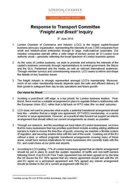 Response to the HoC Transport Committee: 'Freight and Brexit' Inquiry